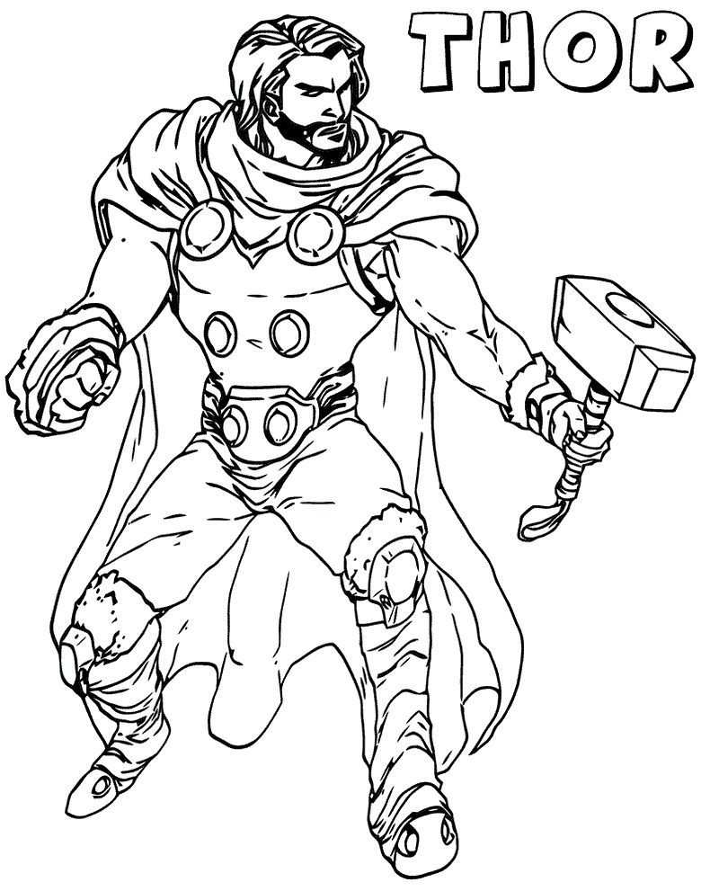 Thor The Avenger Marvel Coloring Pages In 2020 Marvel Coloring