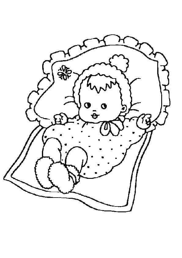 Kleurplaat Van Een Baby Die In Een Bedje Ligt Coloring Pages