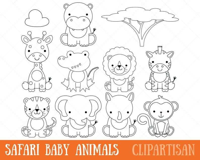 Safari Baby Dieren Clipart Digitale Stempels Kleurplaat Pagina