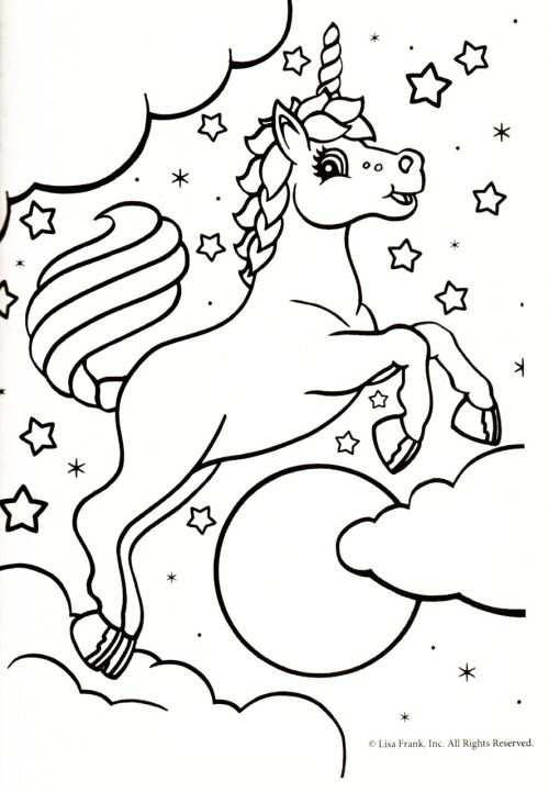 Kleurplaat Eenhoorn Sterren With Images Unicorn Coloring Pages