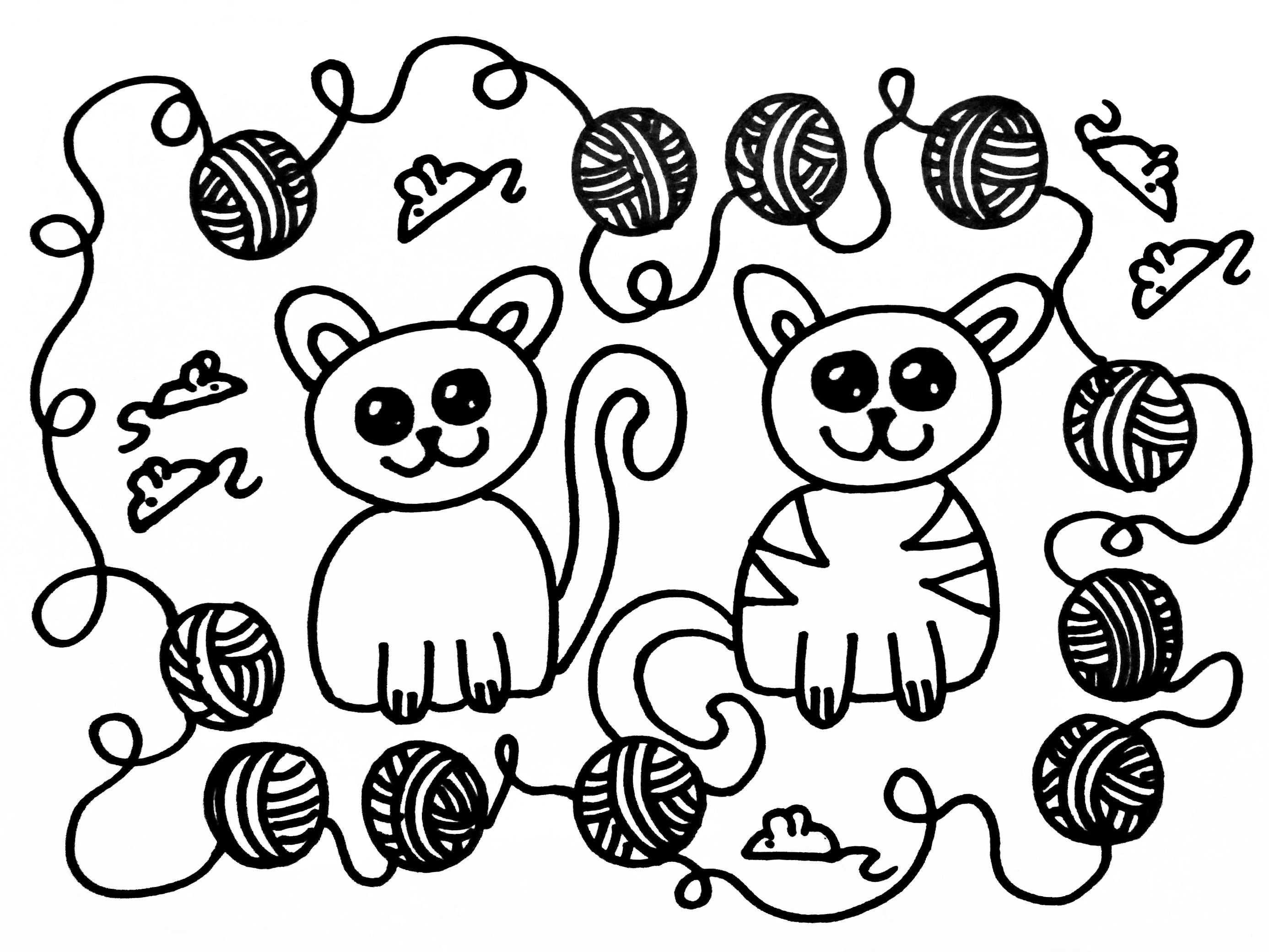Kleurplaten Katten Katten Kleurplaten