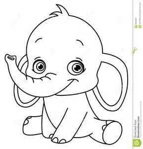 Outlined Baby Elephant For Coloring Books Met Afbeeldingen