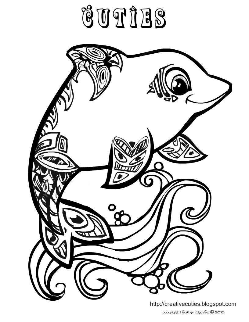 Cuties Free Animal Coloring Pages Dolphin Coloring Pages