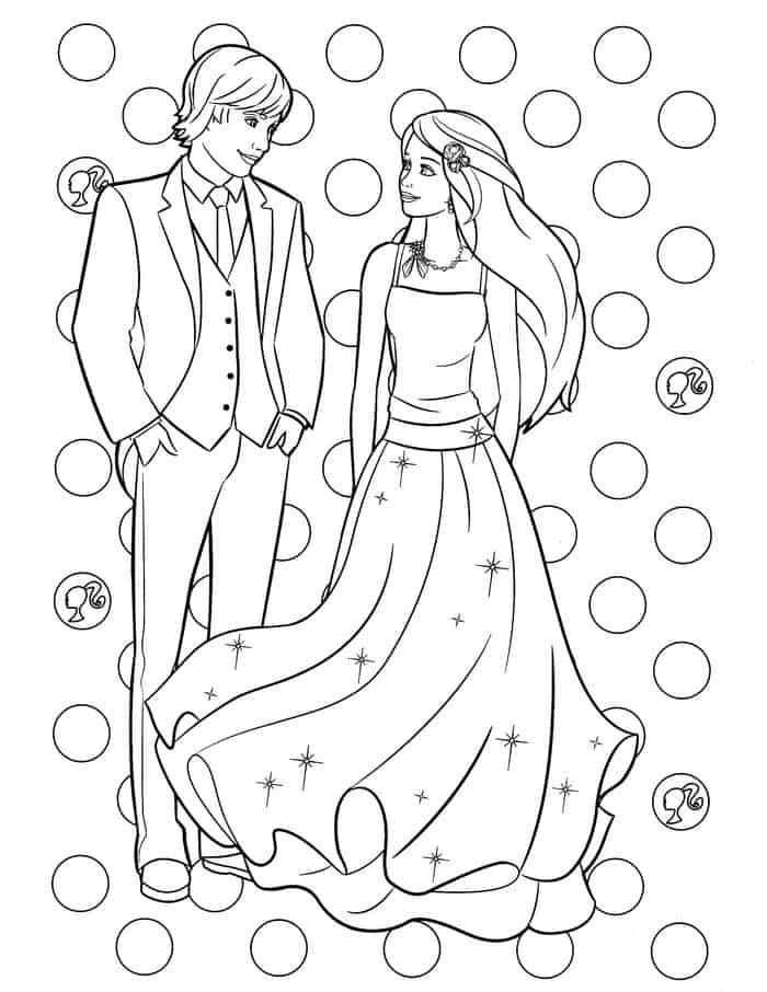 Barbie And Ken Coloring Pages With Images Barbie Coloring