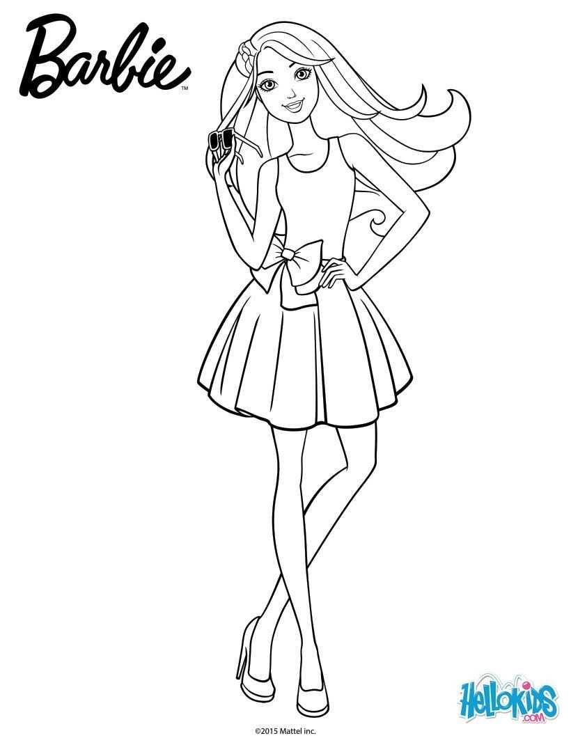 Barbie Skirt With Bow Barbie Printable Kleurplaten Barbie Kleuren