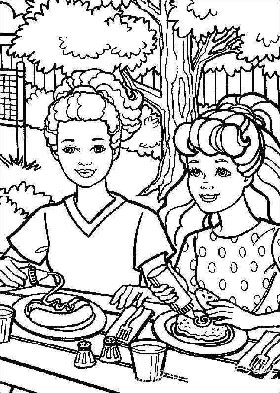 Barbie Dining With Ken Dibujos Barbie Para Colorear Dibujos
