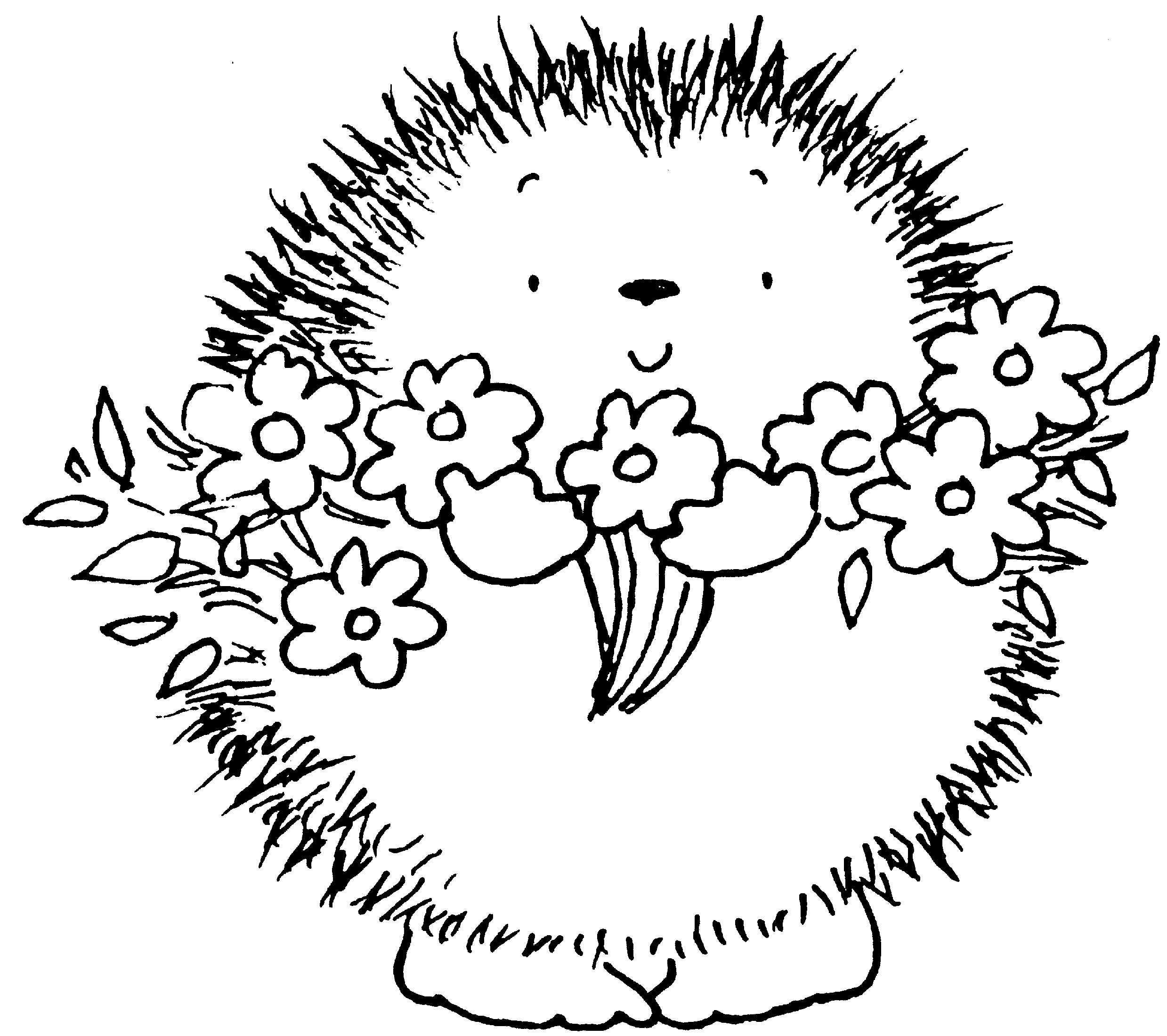 Egel Met Bloemen Kleurplaat Hedgehog With Flowers Egel
