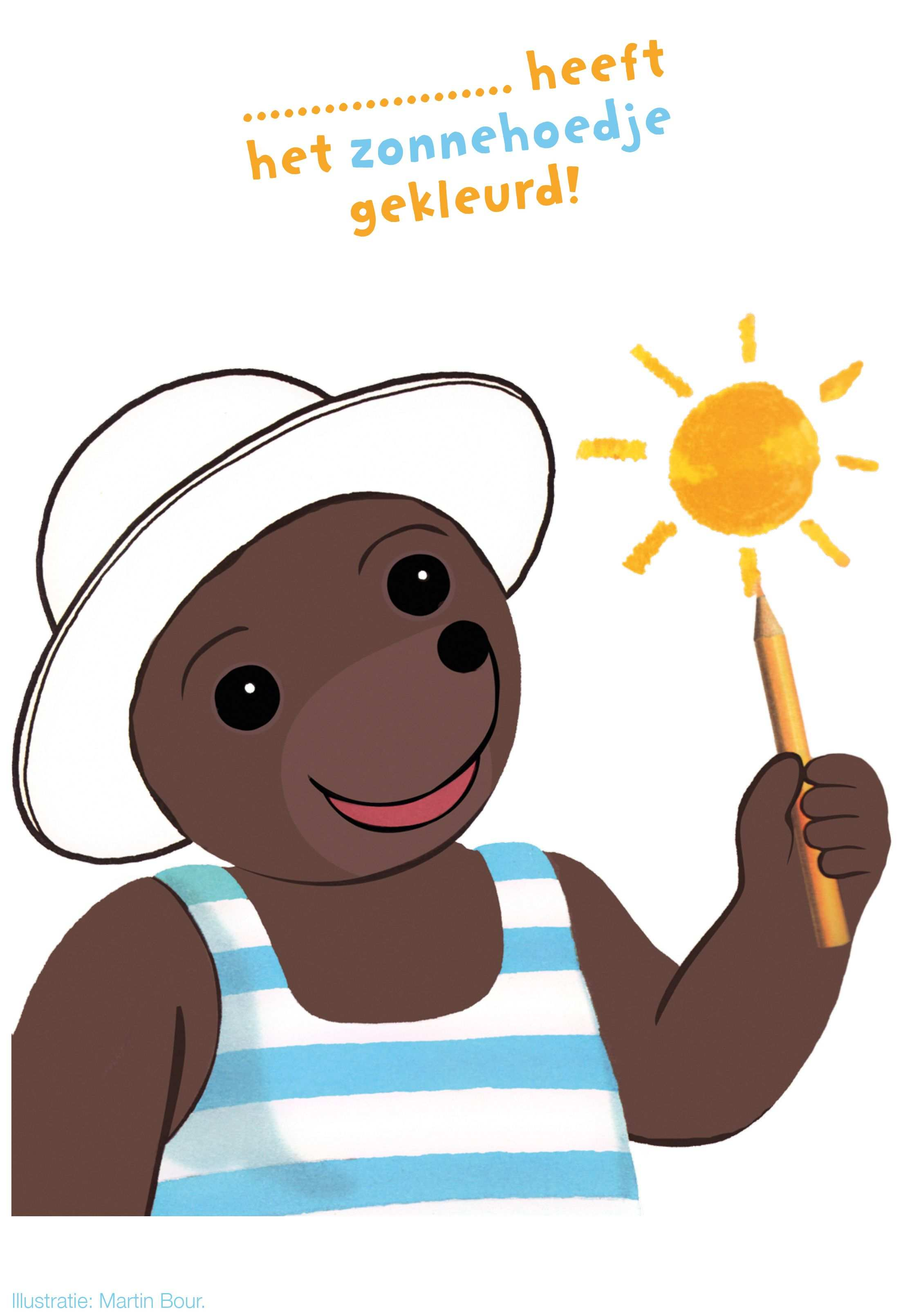 Kleurplaat Beertje Bruin Met Zonnehoedje Vakantie Kleurplaten