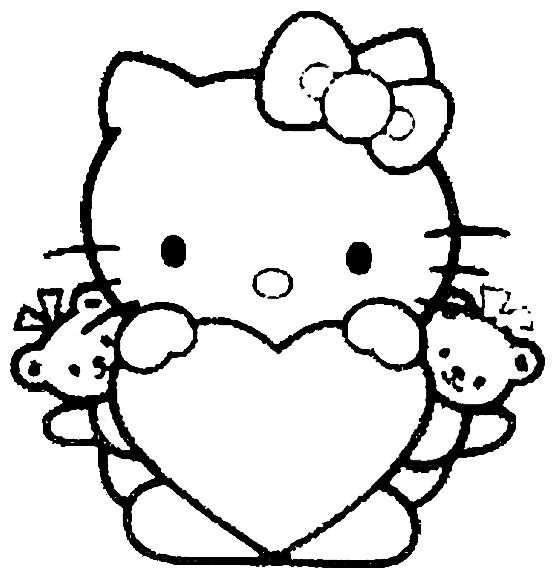 Hk Hart Met Beertjes Avec Images Coloriage Hello Kitty
