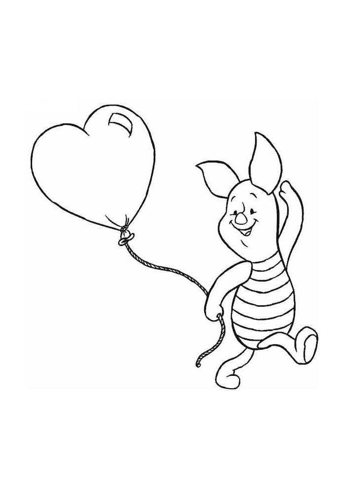 Winnie De Poeh Knorretje Met Een Hartjes Ballon Kleurplaten