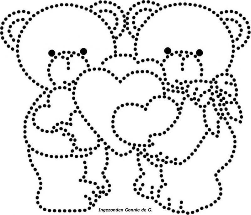 Hartjes Met Beertjes Draadkunst Patronen Borduren Op Papier