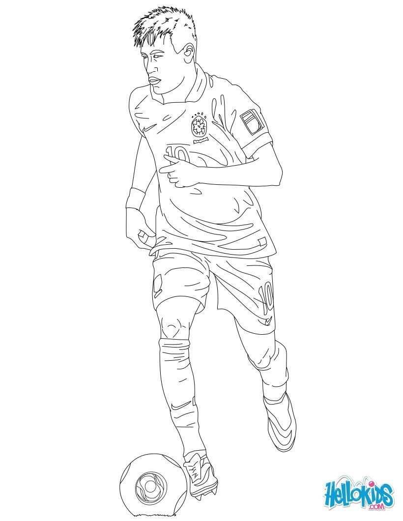 Neymar Colouringpage Team Brazil Hellokids Com Com Imagens