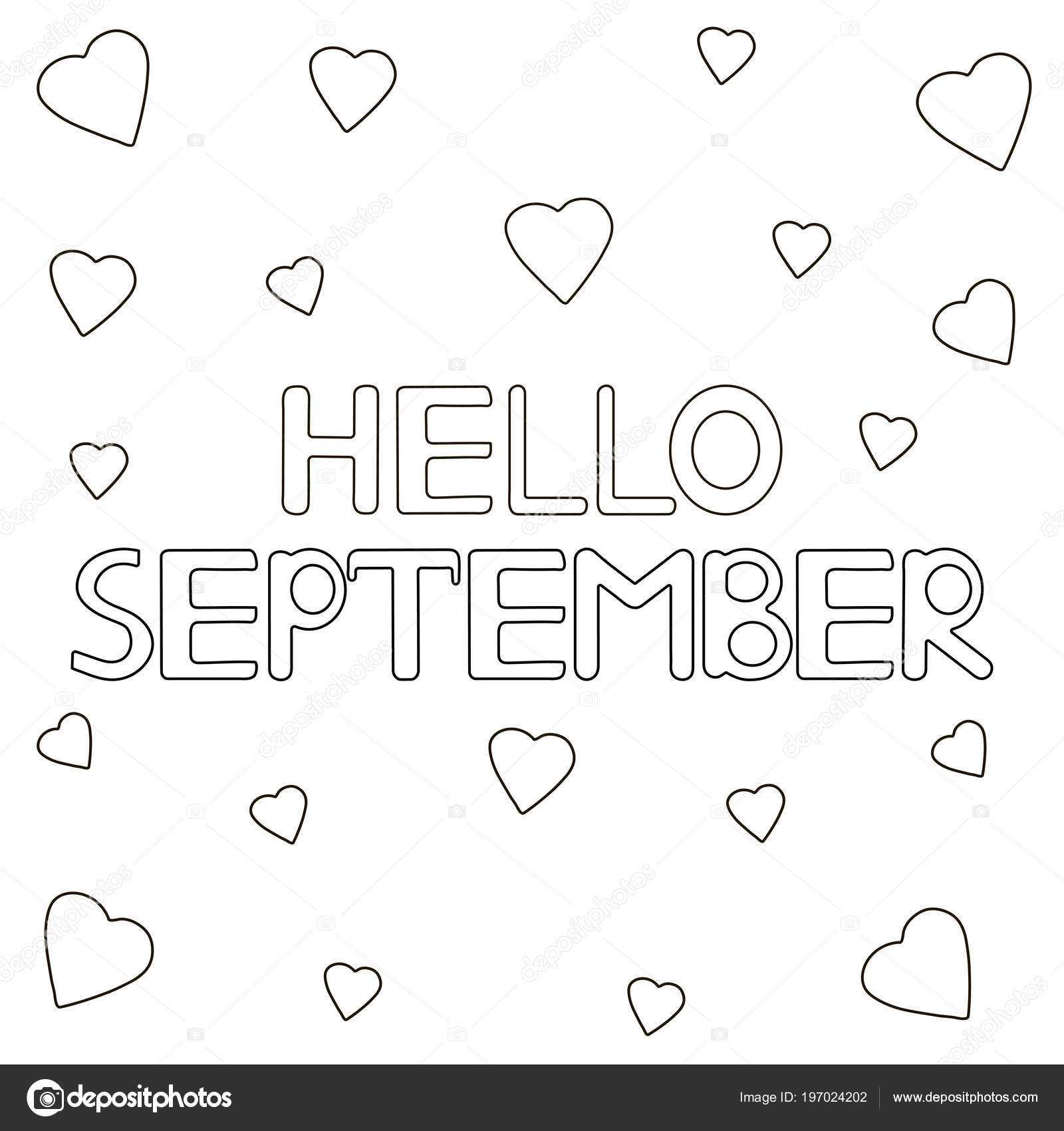 Coloring Page Hand Drawn Text Hello September Hearts Vector