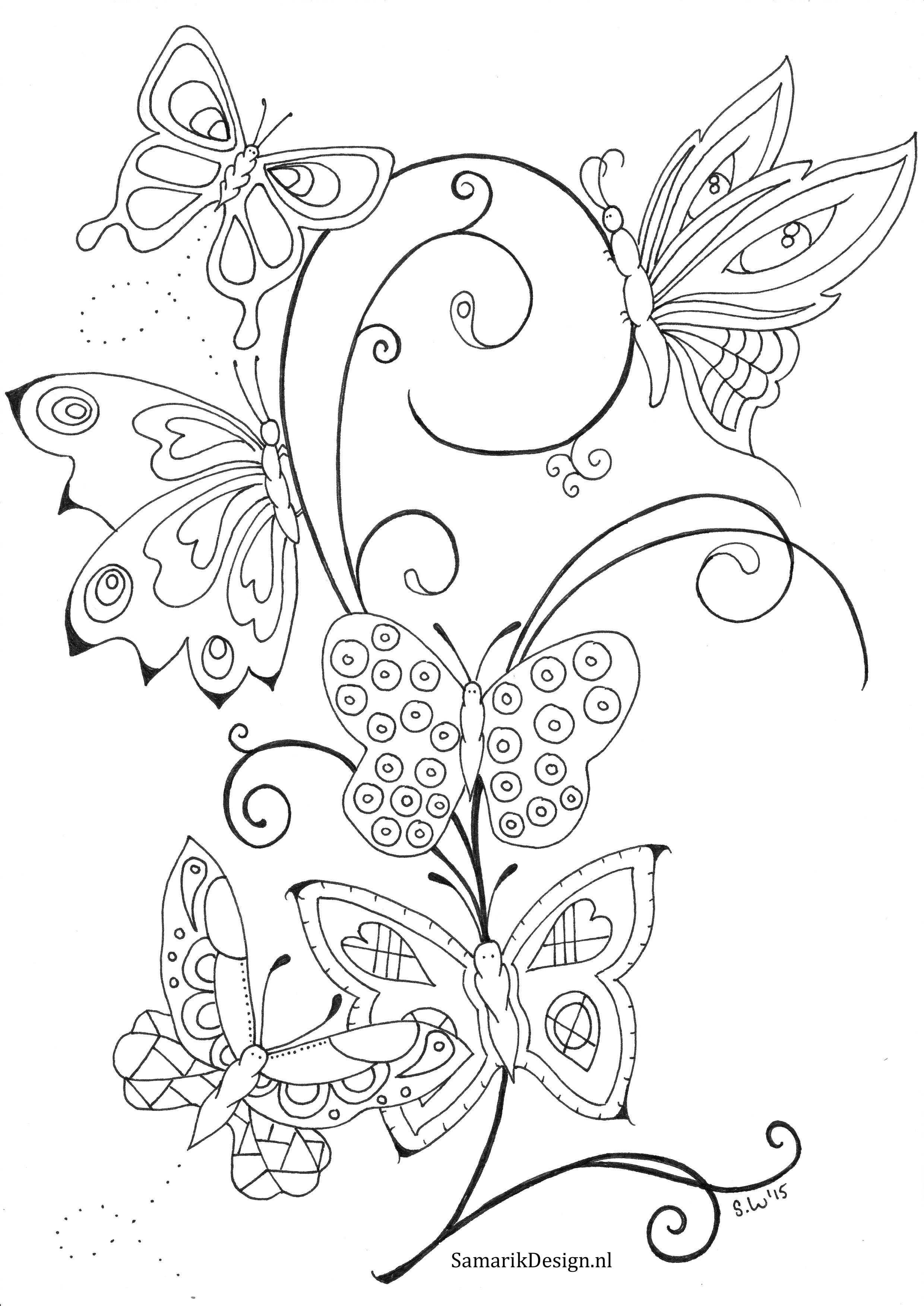 kleurplaat bloemen en vlinders volwassenen