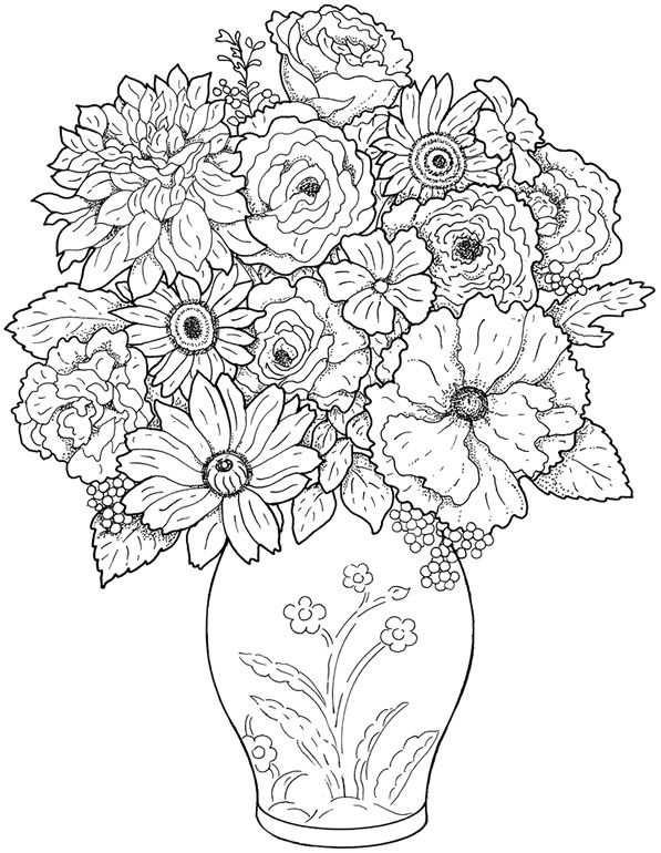 Vaas Met Bloemen Kleurplaten