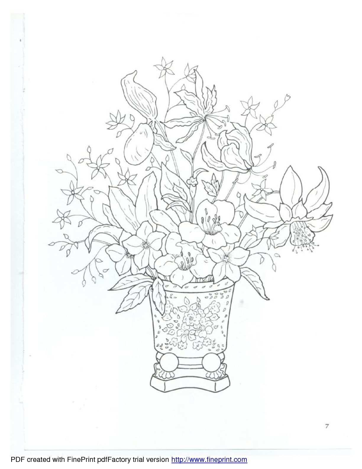 Vaas Bloemen Met Afbeeldingen Kleurplaten Kleurboek Bloemen