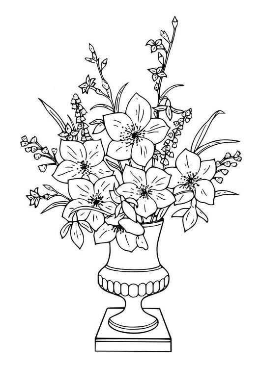 Coloring Page Bouquet Of Lillies Coloring Picture Bouquet Of