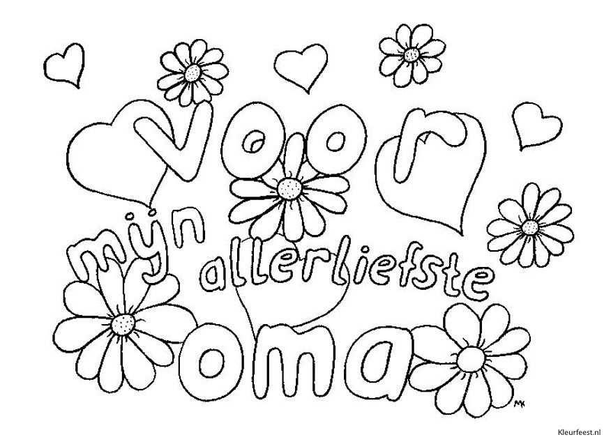 kleurplaat bloemen voor oma