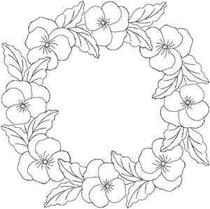 Bloemenkrans Borduren Bloemen Viooltjes Kleurplaten