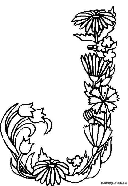 Alfabet Bloemen Kleurplaat Met Afbeeldingen Kleurplaten Bloem