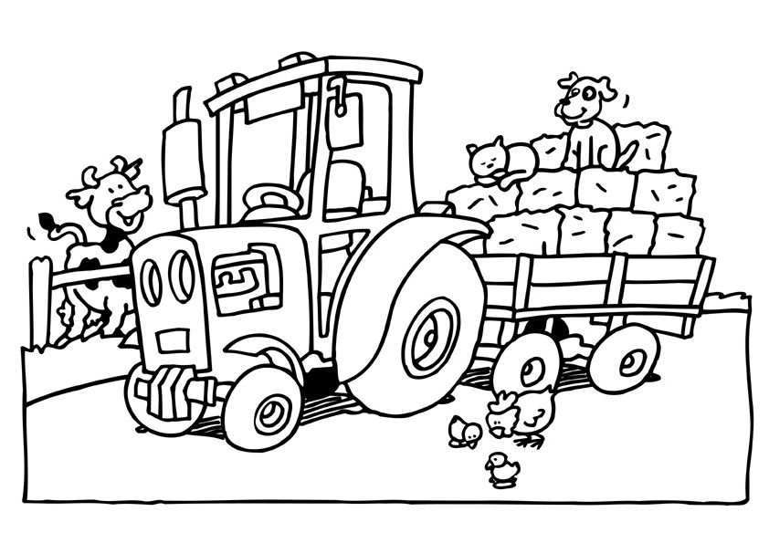 Kleurplaat Tractor Met Afbeeldingen Kleurplaten Tractor Thema