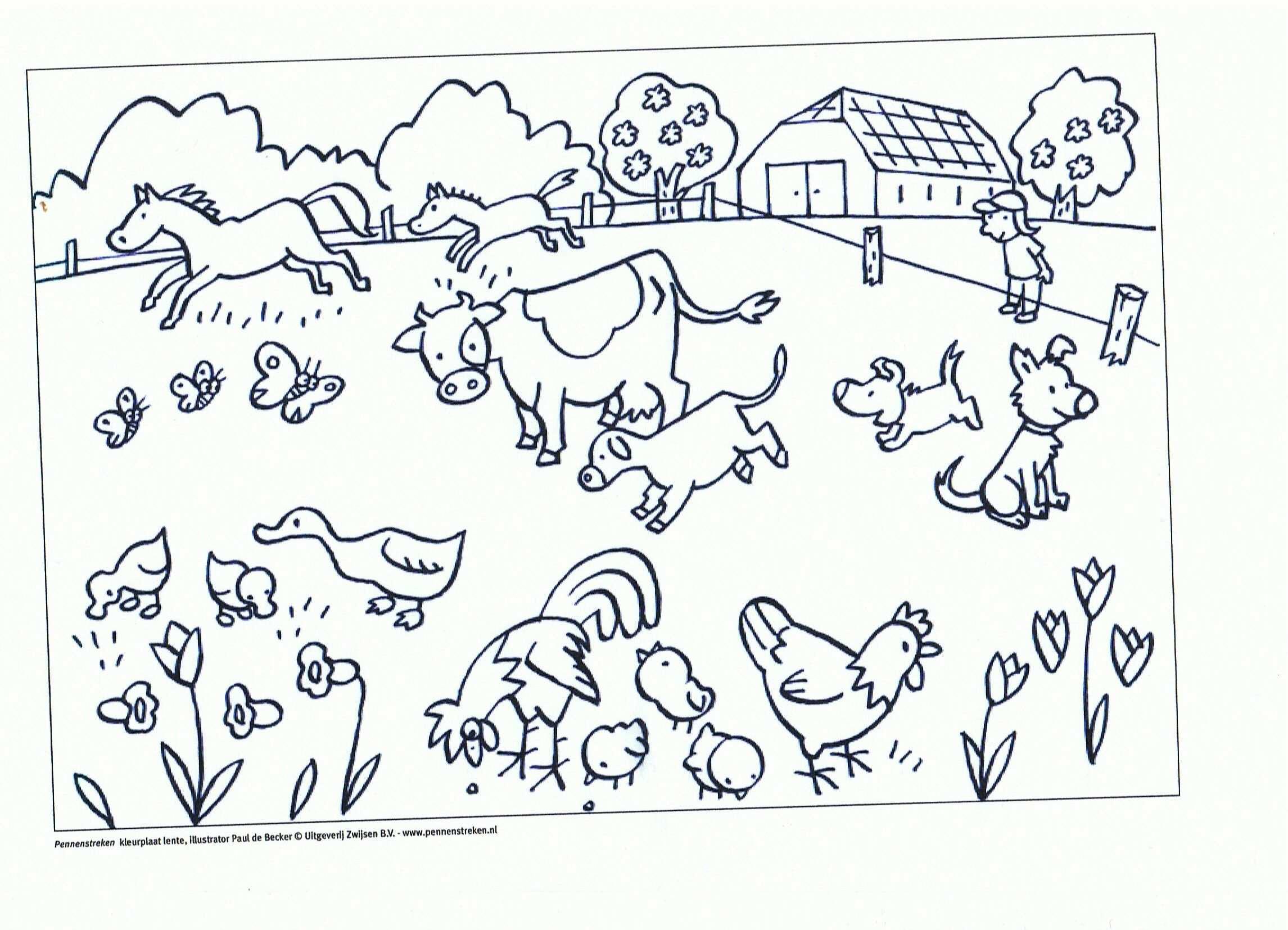 kleurplaat boerderij peuters