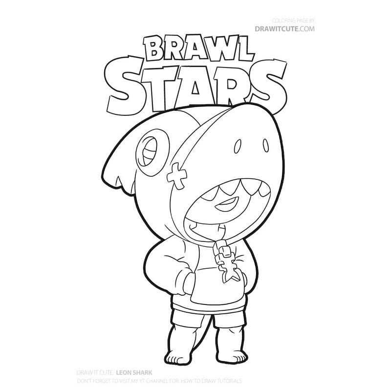 kleurplaat brawl stars leon haai