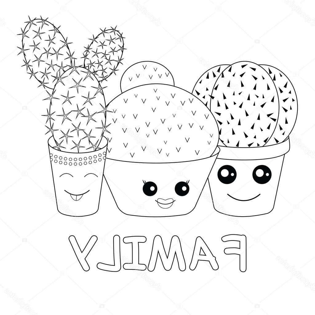 Stockillustratie Kleurplaat Met Cactussen Dessincactus Hello