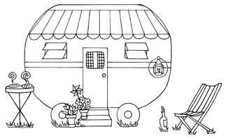 Kleurplaat Kamperen Vakantie Camping Caravan Coloring Holiday