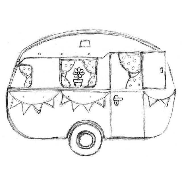 Retro Caravan Kleurplaat Google Zoeken Camper Drawing Camper