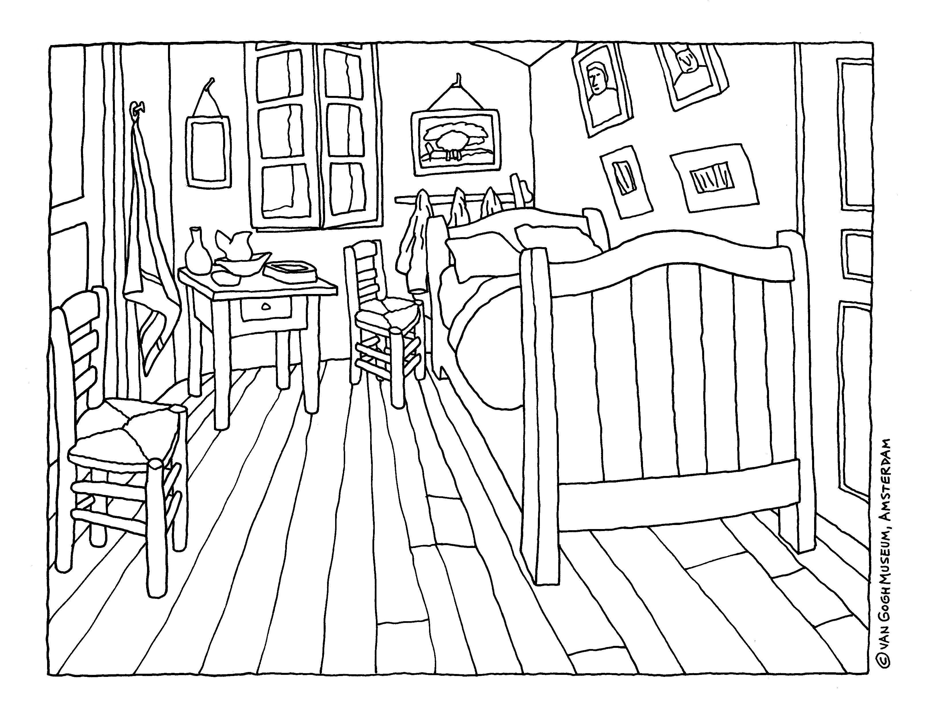 Colouring Page Of Vincent Van Gogh S Masterpiece The Bedroom