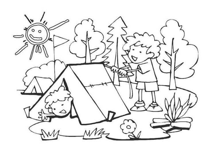 Kids Camping Coloring Pages From Camping Coloring Pages Category