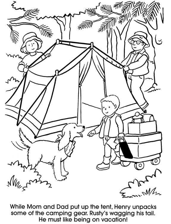 Camping Coloring Page Dover Publications With Images Camping