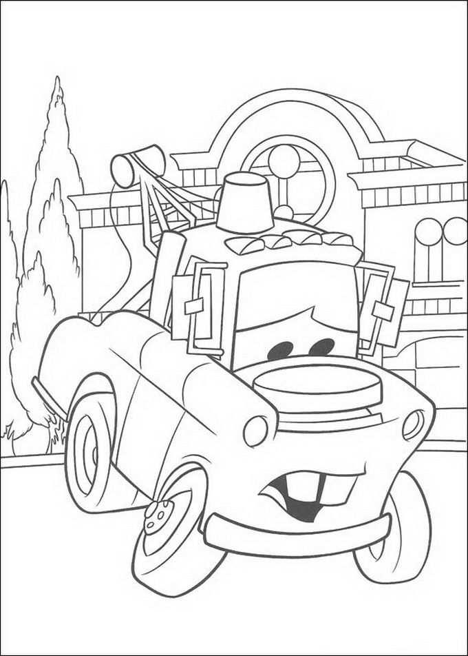 Cars Takel Heeft Een Zware Last Te Vervoeren Kleurplaten Disney