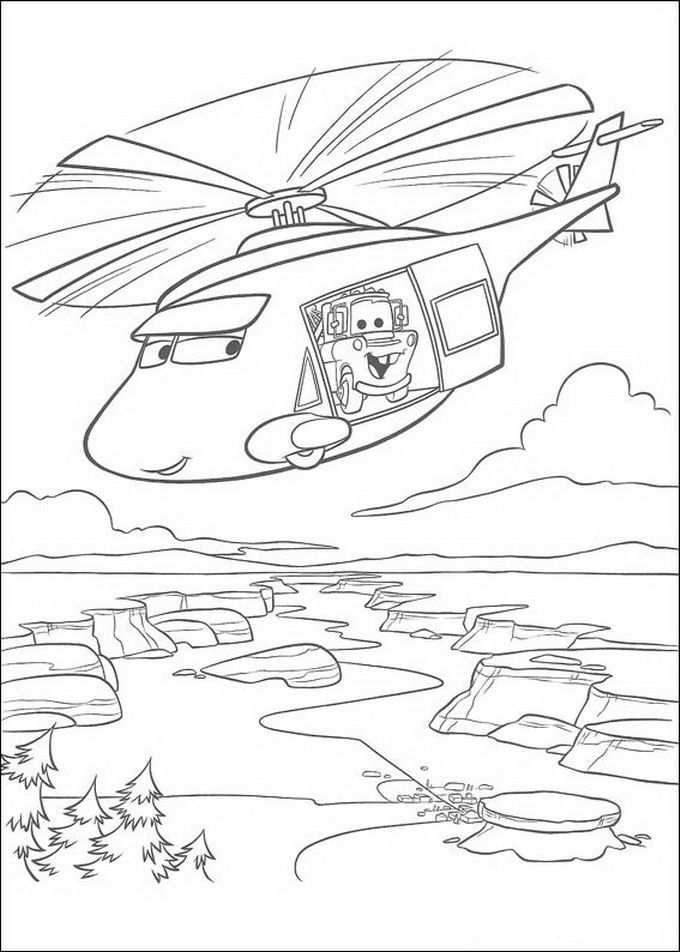 Takel In De Helicopter Kleurplaat Kleurplaten Disney