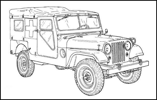 M170 Willys Ambulance Jeep Car Colors Willys Cars Coloring Pages