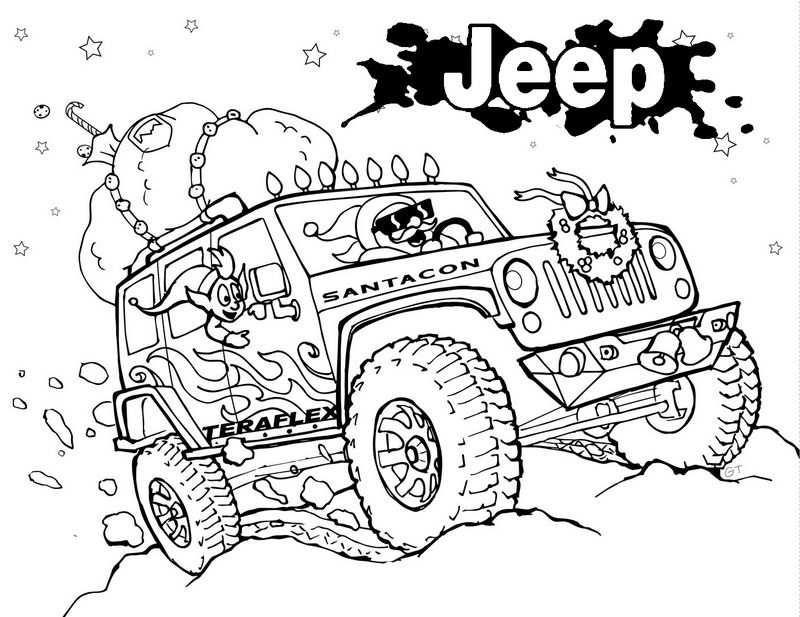 Jeep Wrangler Off Road Monster Coloring Page With Images