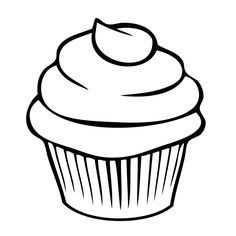 Cupcakes 0008 Cupcake Sjabloon Cupcake Tekening En Kleurplaten