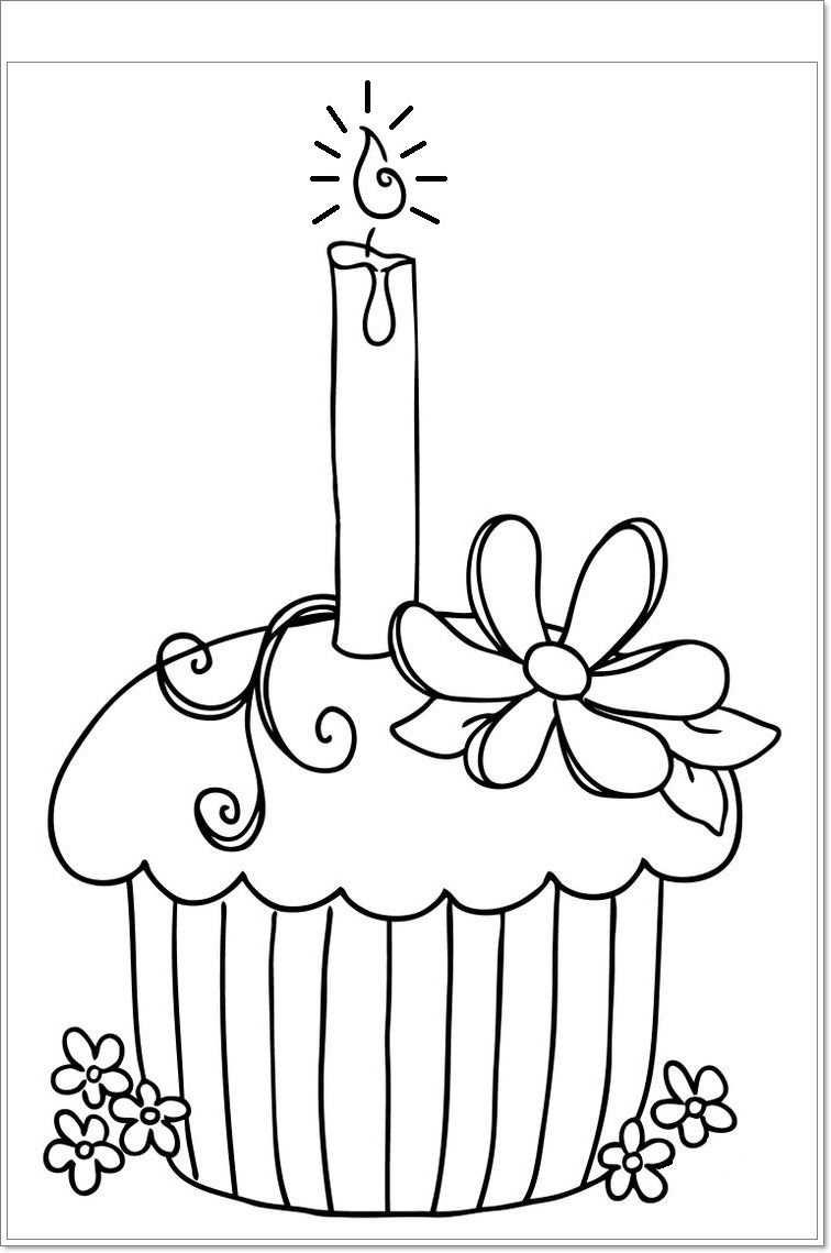Kleurplaat Cupcake Kleurplaten Cupcake Verjaardag Verjaardag