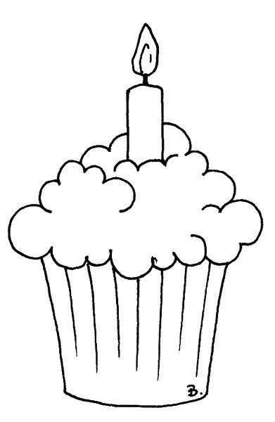 kleurplaat cupcake met kaarsje