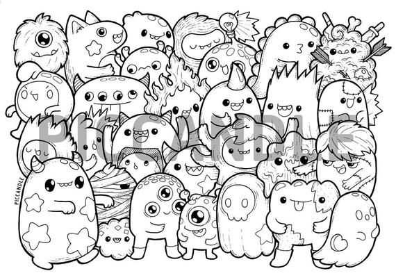 Monsters Doodle Coloring Page Printable Cute Kawaii Coloring