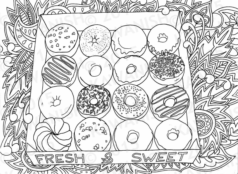 Donuts Doughnuts Adult Coloring Page Gift Wall Art By Kawanish