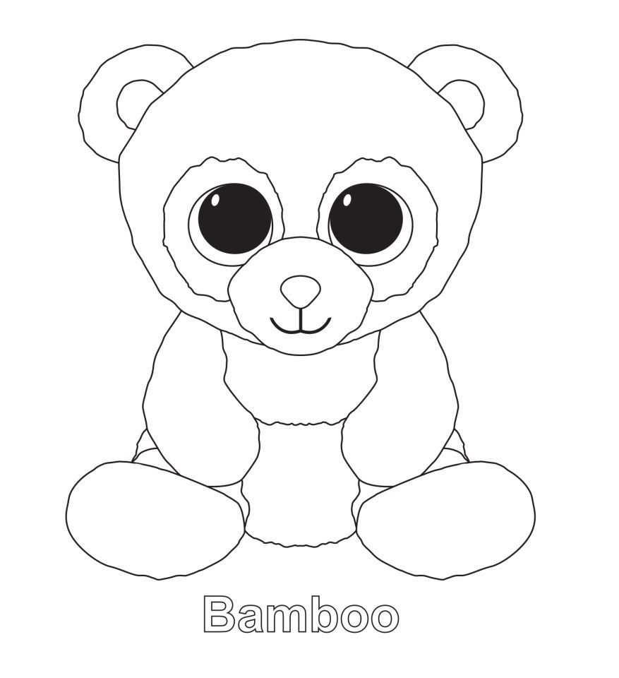 Bamboo The Panda Ty Beanie Boo Kleurplaten Tekenen Beanie