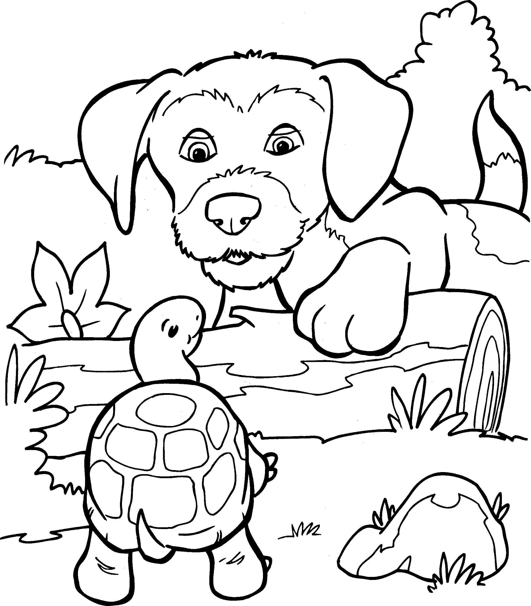 kleurplaat dieren hond