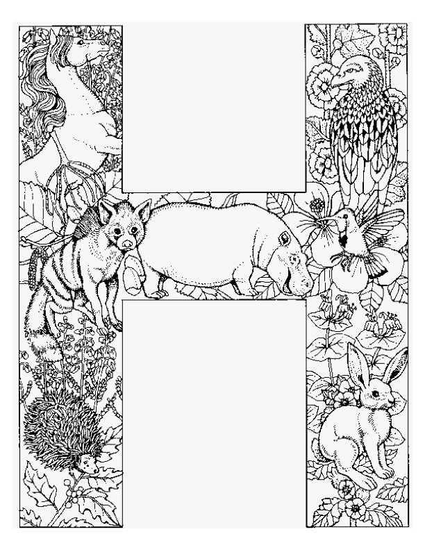 Letter H Kleurplaat Adult Coloring Pages Farglaggningssidor
