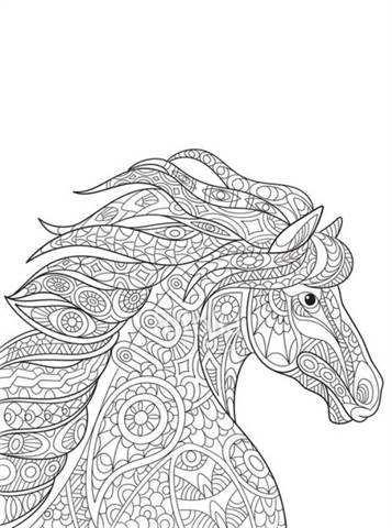kleurplaat dieren moeilijk paard