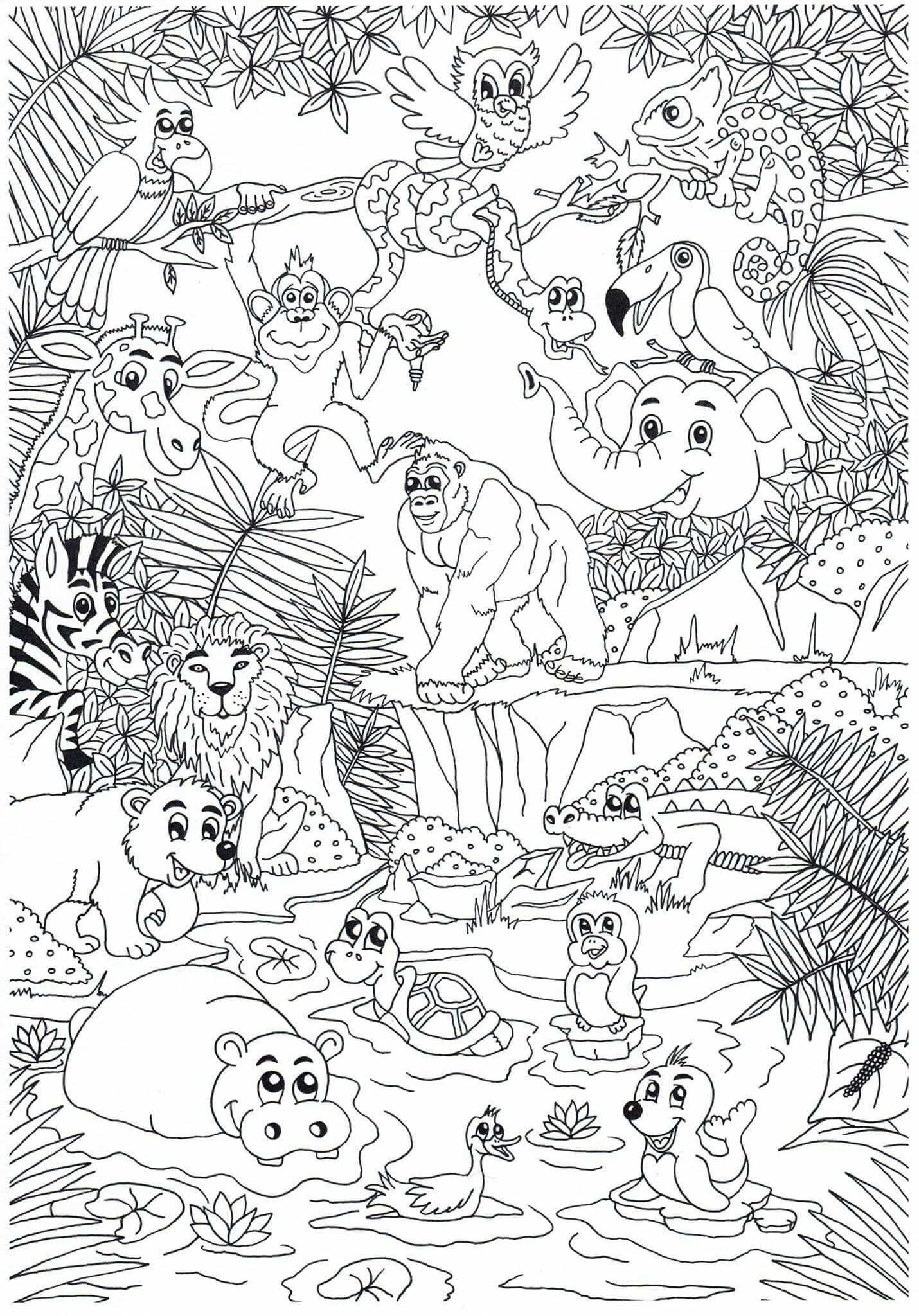 Coloring Animals In The Zoo In 2020 With Images Zoo Coloring
