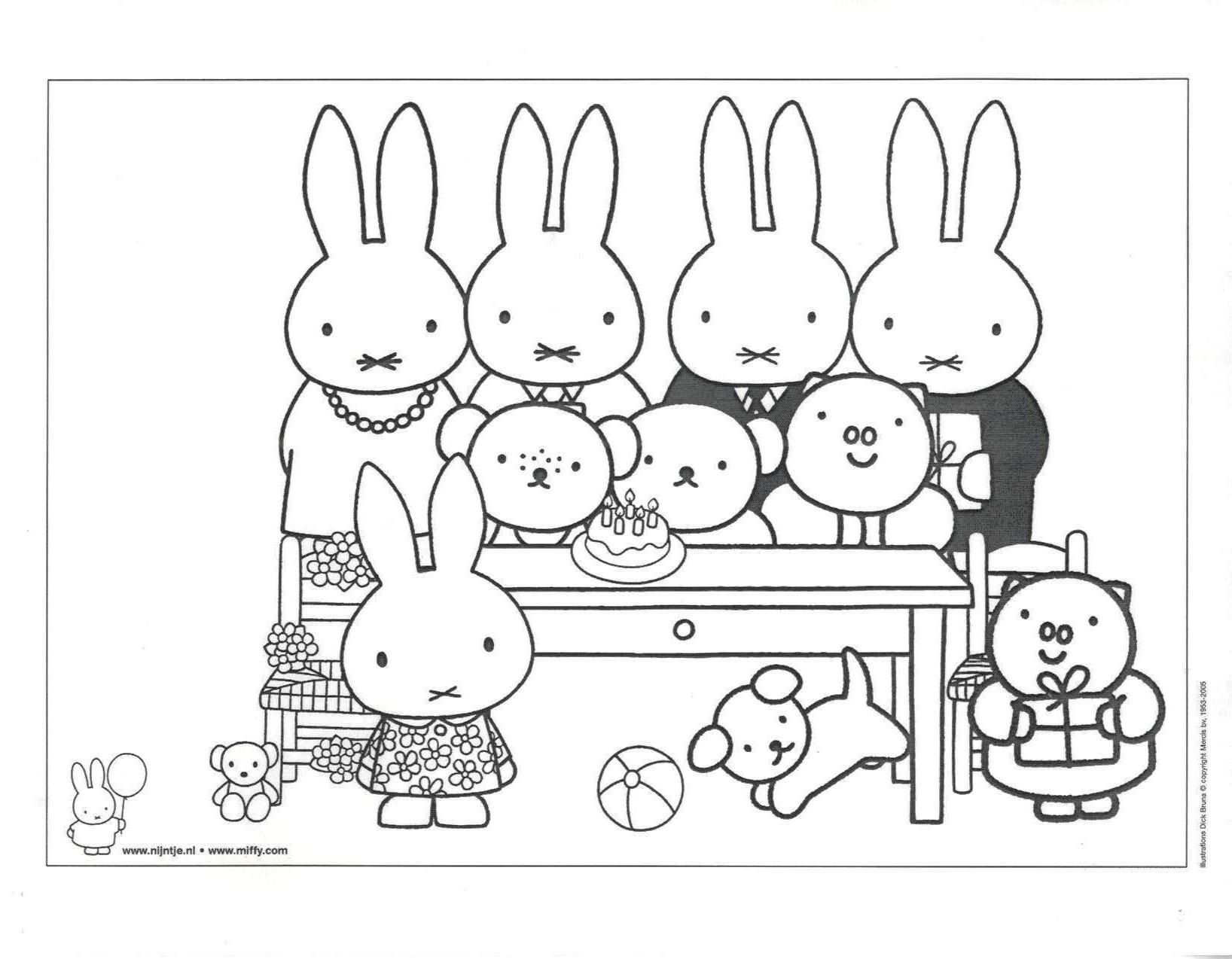 Miffy Friends Colouring With Images Cartoon Coloring Pages