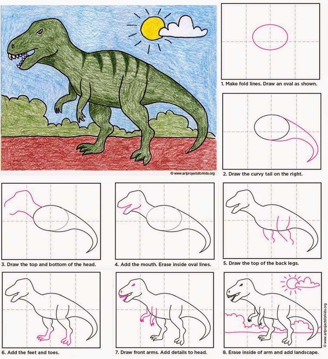Stap Voor Stap Tekenen Dinosaurus T Rex Tekenen Voor