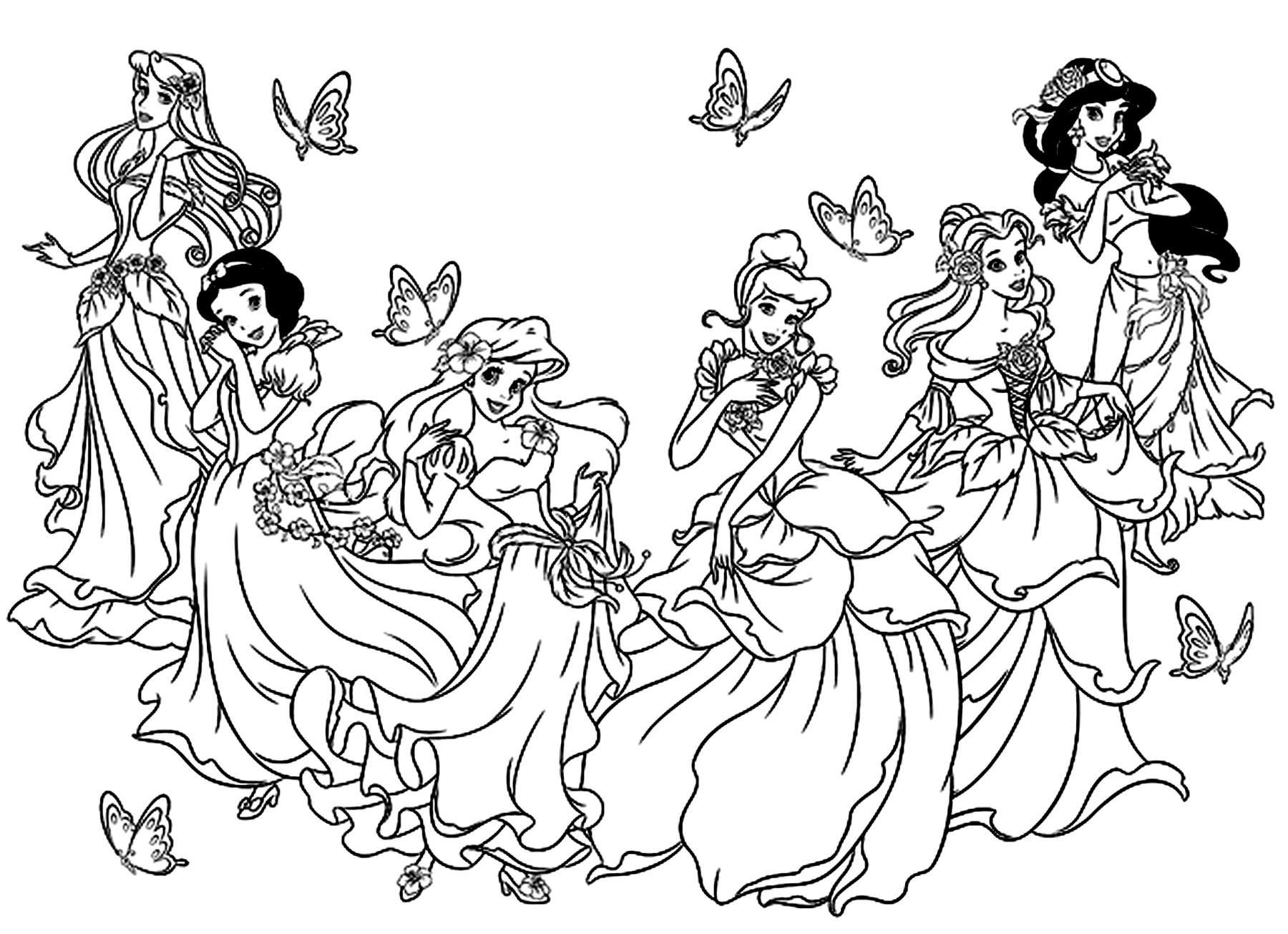 All Princesses Disney Return To Childhood Coloring Pages For